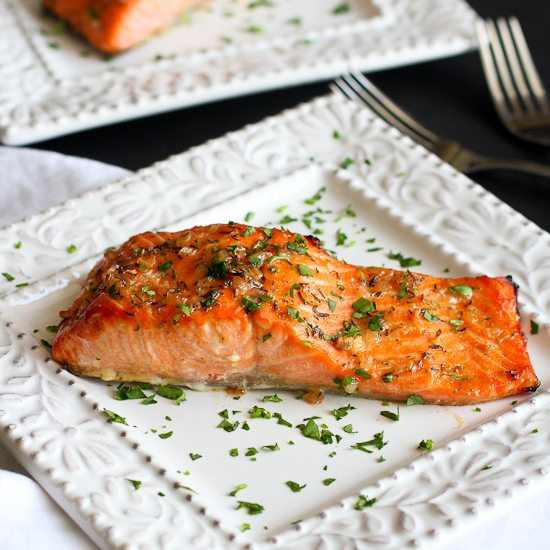 Maple Dijon Baked Salmon Recipe | Cookin' Canuck