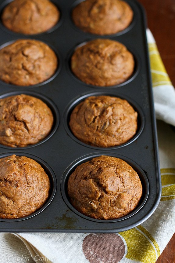 Whole Wheat Banana Nut Muffins Recipe...Great for breakfast or healthy snacking! 158 calories and 4 Weight Watcher PP | cookincanuck.com