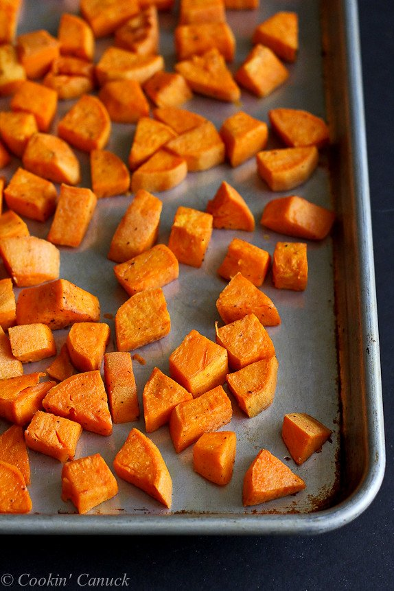 Roasted Sweet Potatoes and Almond Butter Sauce...117 calories and 3 Weight Watchers PP | cookincanuck.com #recipe