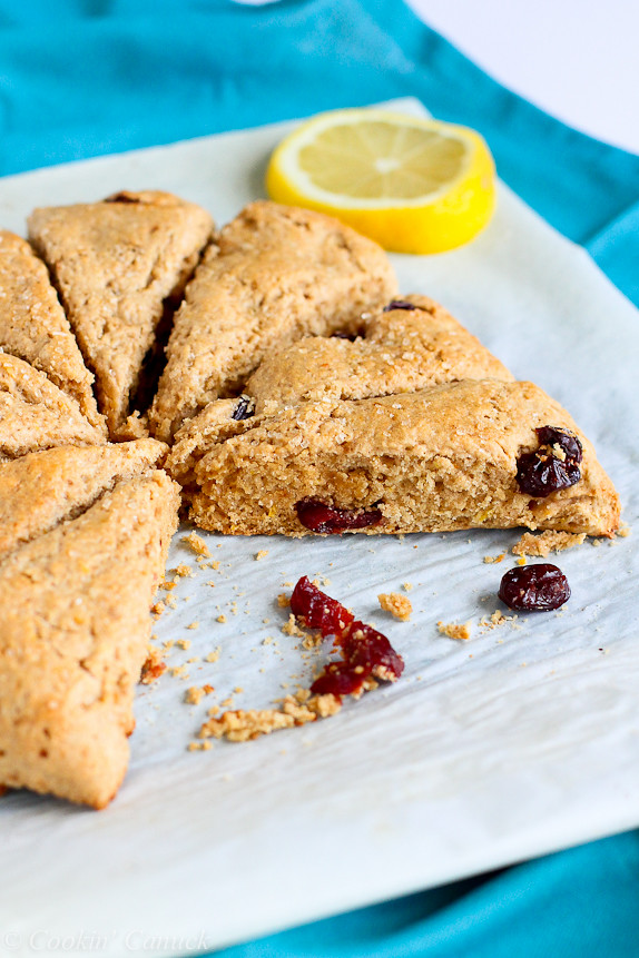 Lemon and Cherry Whole Wheat Scones Recipe...125 calories and 3 Weight Watchers PP | cookincanuck.com #brunch