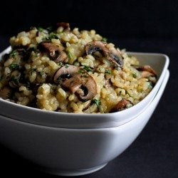 Toasted Brown Rice with Mushrooms & Thyme Recipe | cookincanuck.com