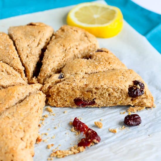 Lemon & Cherry Whole Wheat Scones Recipe | Cookin' Canuck