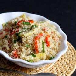 Lemon Quinoa with Artichokes, Roasted Peppers & Basil | cookincanuck.com