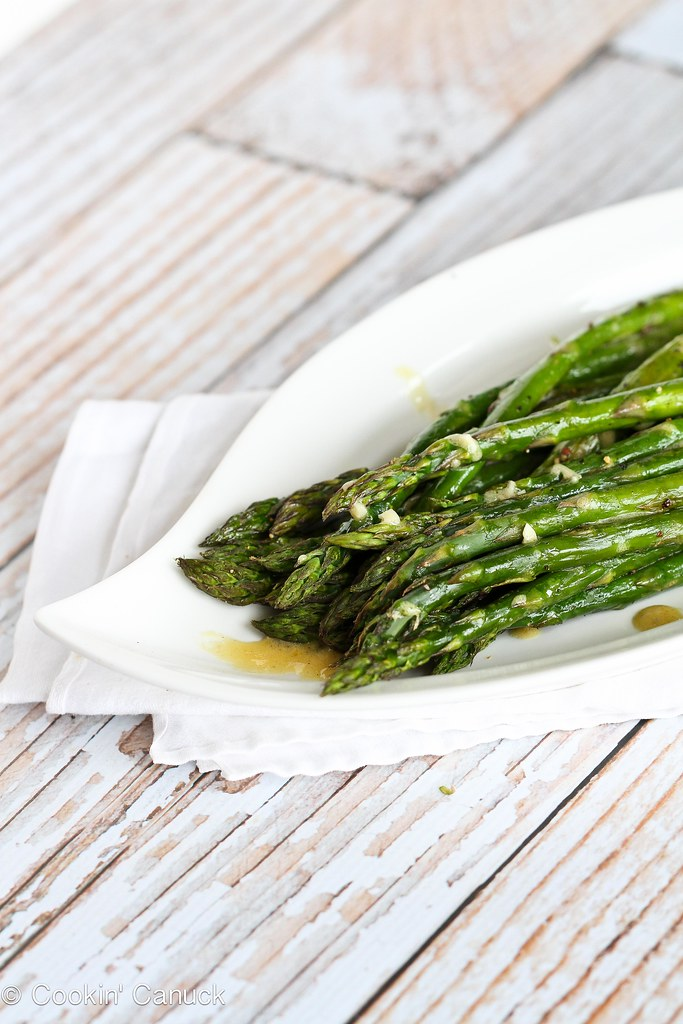 Roasted Asparagus Recipe with Dijon Vinaigrette Dressing | cookincanuck.com #asparagus #vegan #vegetarian