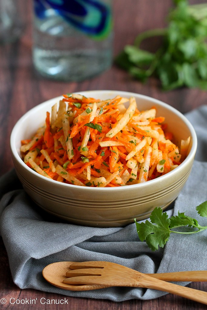 Jicama & Carrot Slaw Recipe with Honey-Lime Dressing | cookncanuck.com #vegan #vegetarian #recipe