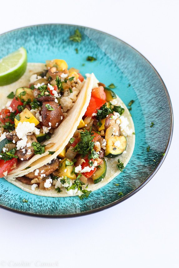 Easy Vegetable Soft Tacos...Bursting with flavor and vitamins! 236 calories and 6 Weight Watchers SP | cookincanuck.com #recipe