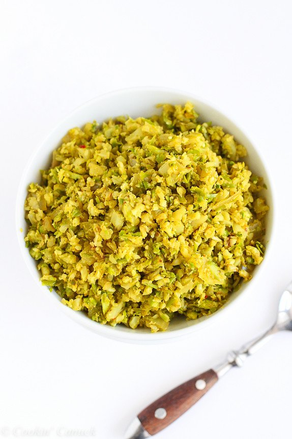 Curry Asparagus and Cauliflower Rice Recipe...A fantastic, low-carb side dish! 55 calories and 1 Weight Watchers PP | cookincanuck.com #vegan #glutenfree