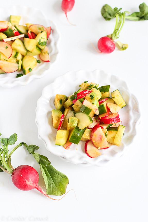 Smoky Cucumber, Radish and Avocado Salad...A fresh, spring salad recipe with a smoky paprika dressing! 106 calories and 3 Weight Watchers PP | cookincanuck.com #vegan #vegetarian