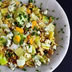 Kamut Salad with Oranges, Leeks & Blue Cheese