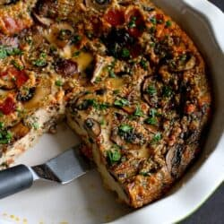 Pancetta & Mushroom Crustless Quiche Recipe | cookincanuck.com