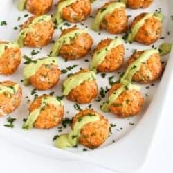 Baked Salmon Meatballs with Creamy Avocado Sauce | cookincanuck.com