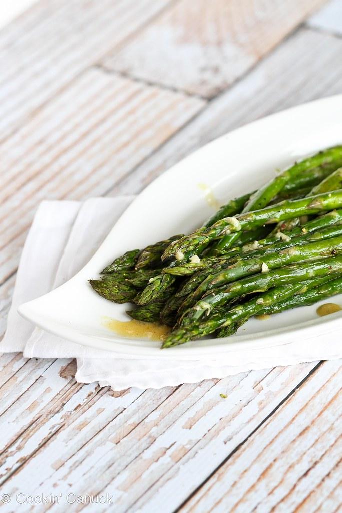 Roasted Asparagus Recipe with Dijon Vinaigrette Dressing | cookincanuck.com #asparagus #vegan #vegetarian
