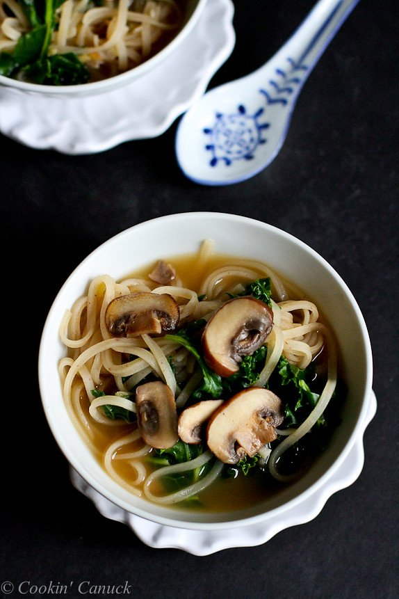 30 Minute Rice Noodle Soup With Mushrooms Kale Cookin Canuck