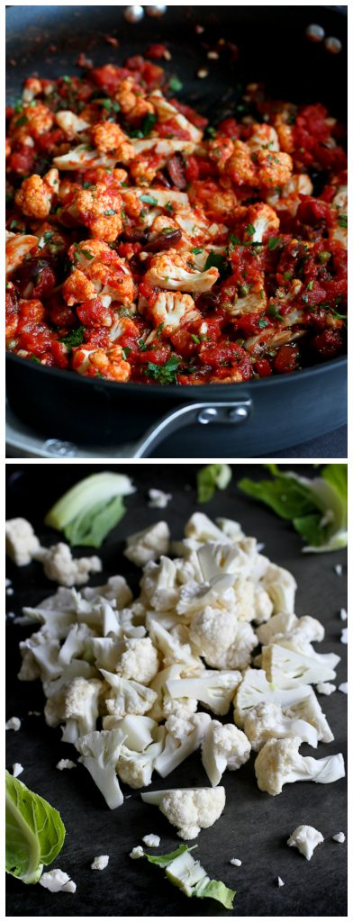 Cauliflower in Puttanesca Sauce...A fantastic side dish or vegetarian meal with only 116 calories and 1 Weight Watcher SmartPoint per serving.   cookincanuck.com #recipe #vegan