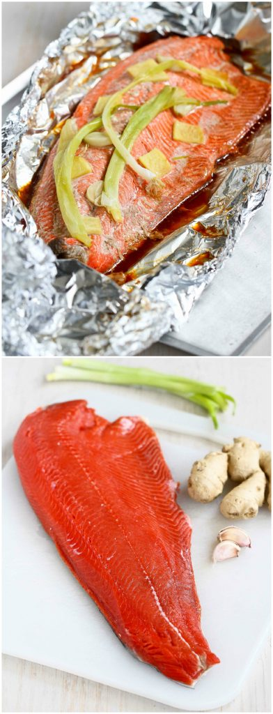 Easy Grilled Salmon in Foil with Ginger and Soy Sauce...Awesome flavor and virtually no clean-up! 231 calories and 0 Weight Watchers Freestyle SP #recipe #healthy #seafood #salmon