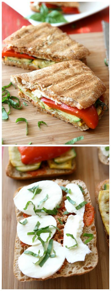 These tasty (and easy!) vegetarian grilled sandwiches are filled with fresh summer veggies. 276 calories and 8 Weight Watchers Freestyle SP width=
