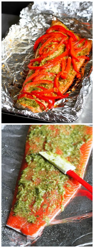 A family favorite! This easy grilled pesto salmon recipe in foil, with sautéed peppers, requires virtually no clean-up. Great for weeknight meals or entertaining! 254 calories and 1 Weight Watchers SP #salmon #grilling #weightwatchers
