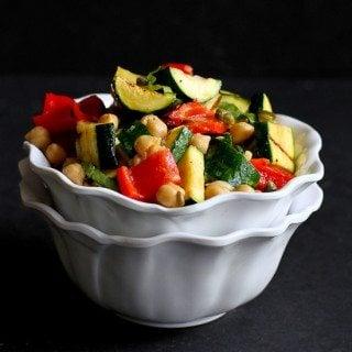 Grilled Vegetable, Chickpea & Caper Salad {Vegan}