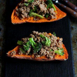 Hoisin Turkey & Broccoli Stuffed Sweet Potatoes