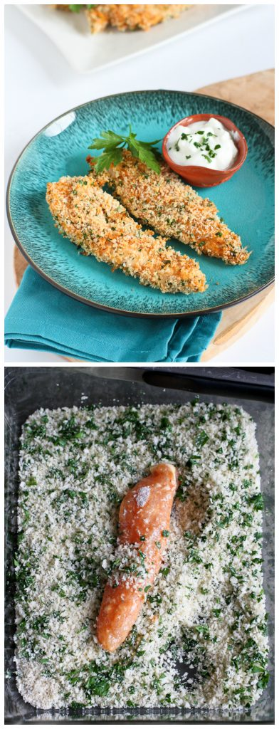 Baked Hummus Crusted Chicken Tenders...A quick and healthy dinner that the whole family will love! 251 calories and 6 Weight Watchers PP | cookincanuck.com