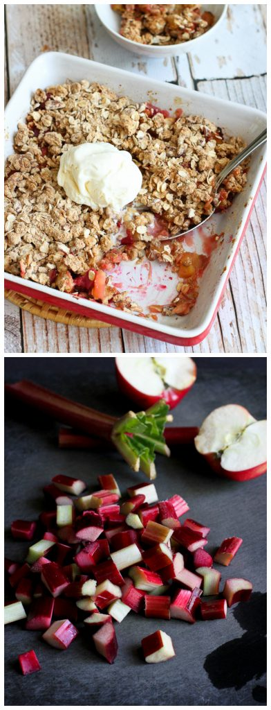 Rhubarb and Apple Crisp Recipe {Low Sugar}...A fantastic spring-time recipe! 181 calories and 5 Weight Watchers PP | cookincanuck.com #dessert