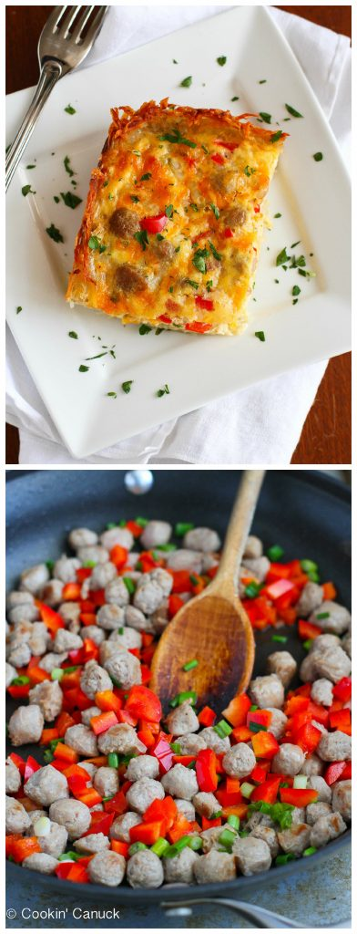 Skinny Sausage and Egg Breakfast Casserole Recipe...240 calories and 6 Weight Watchers PP | cookincanuck.com #brunch