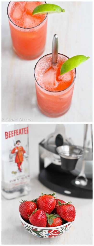 Fresh Strawberry and Lime Tom Collins Cocktail Recipe...161 calories and 1 Weight Watchers PP | cookincanuck.com #gin
