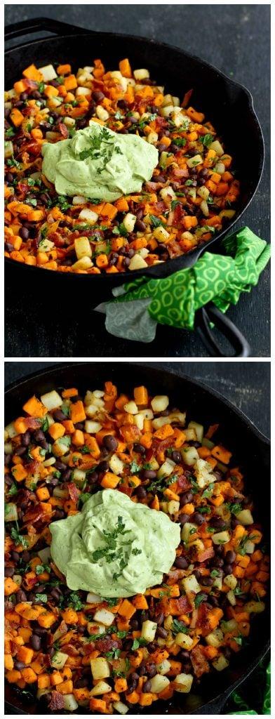 Sweet Potato Hash Recipe with Creamy Avocado Sauce...120 calories and 3 Weight Watchers PP | cookincanuck.com #breakfast