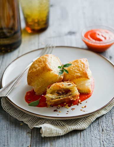"Pancetta, Caramelized Onion Puff Pastry ""Ravioli"" with Roasted Red ..."