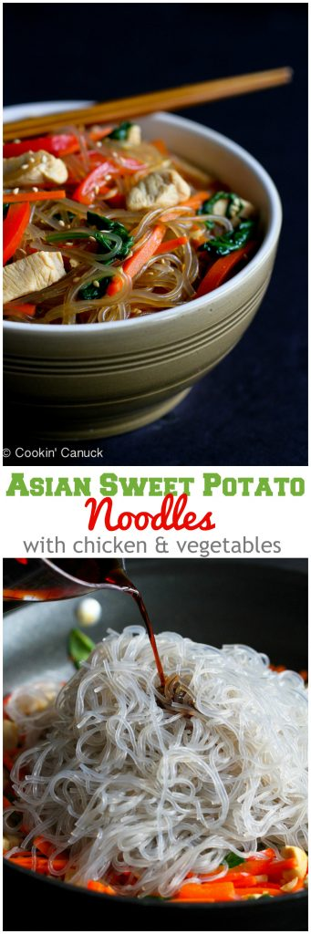 Asian Sweet Potato Noodles Recipe with Chicken and Vegetables...195 calories and 5 Weight Watchers SmartPoints
