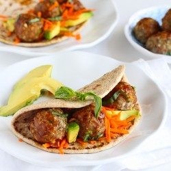 Asian Meatball & Avocado Flatbread Sandwich Recipe...Amazing flavors! 341 calories and 9 Weight Watchers PP | cookincanuck.com