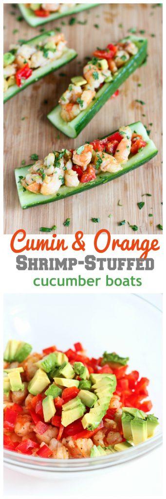 Cumin Orange Shrimp-Stuffed Cucumber Boats Recipe...215 calories and 6 Weight Watchers PP | cookincanuck.com #healthy