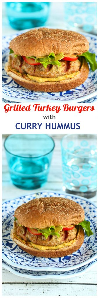 Dive into these flavorful, tender Grilled Turkey Burgers, livened up with a delicious and easy curry hummus. 254 calories and 6 Weight Watchers SP