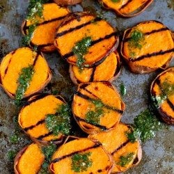 Grilled Sweet Potatoes with Cilantro Vinaigrette...117 calories and 3 Weight Watchers PP | cookincanuck.com