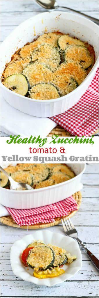 Healthy Zucchini, Tomato and Yellow Squash Gratin Recipe...110 calories and 3 Weight Watchers PP | cookincanuck.com #vegetarian #MeatlessMonday