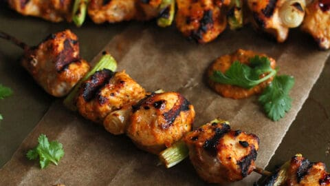Grilled Chicken Kabobs with Red Pepper Cilantro Pesto Recipe