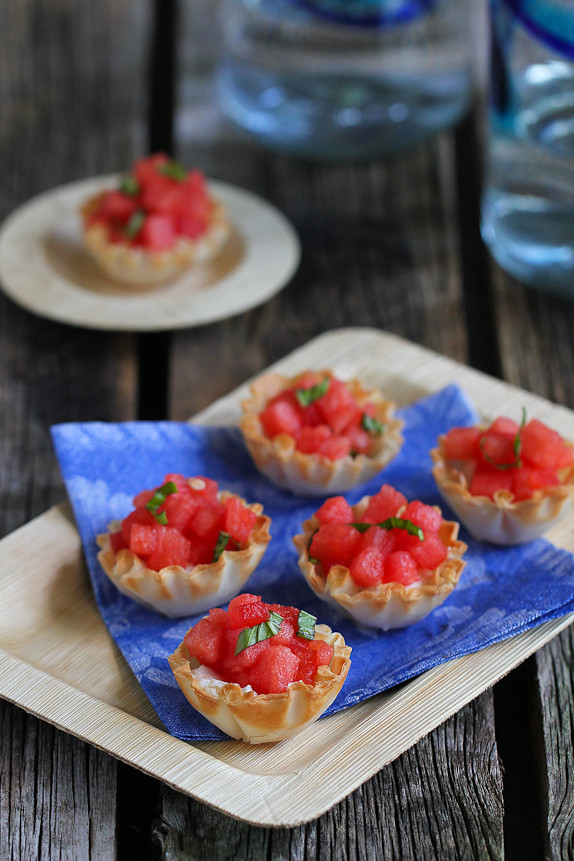 Watermelon and Goat Cheese Phyllo Bites...76 calories and 2 Weight Watchers PP for 3 tasty bites! | cookincanuck.com #healthy #recipe #appetizer
