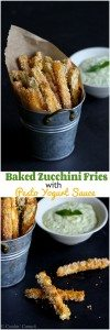 You are going to love these! Zucchini gets transformed into healthy, crispy, golden brown fries with a 3-ingredient pesto yogurt dipping sauce. 113 calories and 3 Weight Watchers Freestyle SP #zucchini #fries #weightwatchers