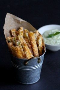 Baked Zucchini Fries with Pesto Yogurt Dipping Sauce Recipe