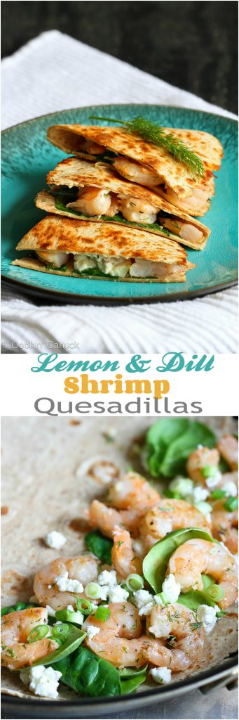 Lemon Dill Shrimp Quesadilla Recipe...257 calories and 5 Weight Watchers SP | cookincanuck.com #healthy