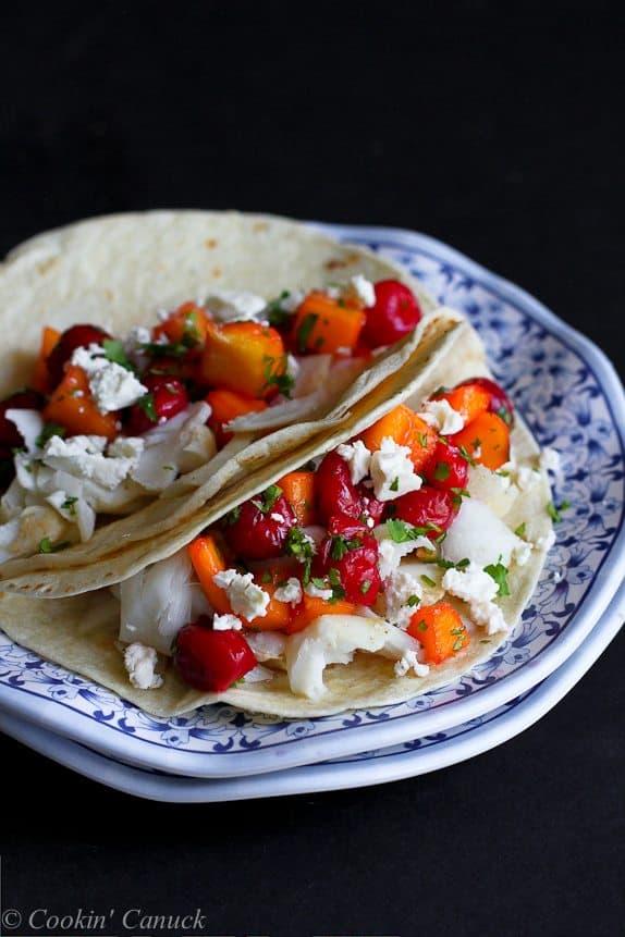 Fish tacos with tart cherry mango salsa recipe cookin for Fish taco salsa