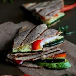 Grilled Quesadillas with Avocado, Zucchini & Basil
