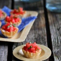 Watermelon, Goat Cheese & Basil Phyllo Bites Recipe