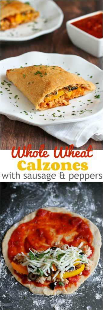 Whole Wheat Calzone with Sausage & Peppers...281 calories and 7 Weight Watchers PP | cookincanuck.com #healthy #recipe