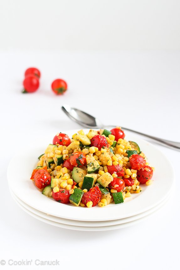 This Sautéed Zucchini, Corn and Blistered Tomatoes Recipe is one of the best summer side dishes I have ever made! | cookincanuck.com #vegetarian #vegan