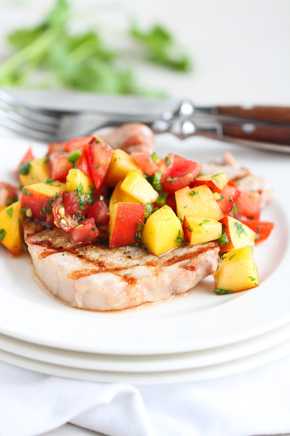 Grilled Pork Chops with Peach Salsa…Quick as a flash, with fresh summer flavors. 230 calories and 5 Weight Watchers PP | cookincanuck.com #recipe