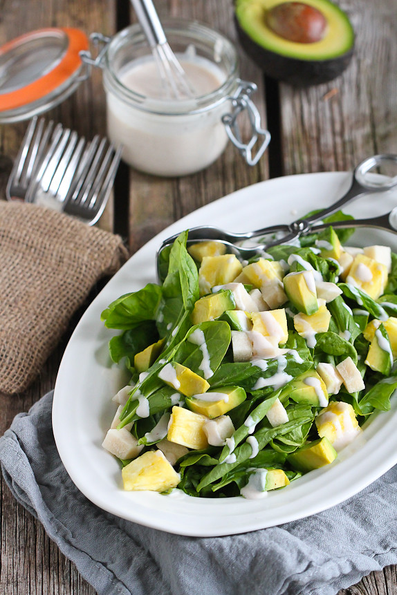Jicama Pineapple Spinach Salad With Sriracha Buttermilk Dressing Cookin Canuck