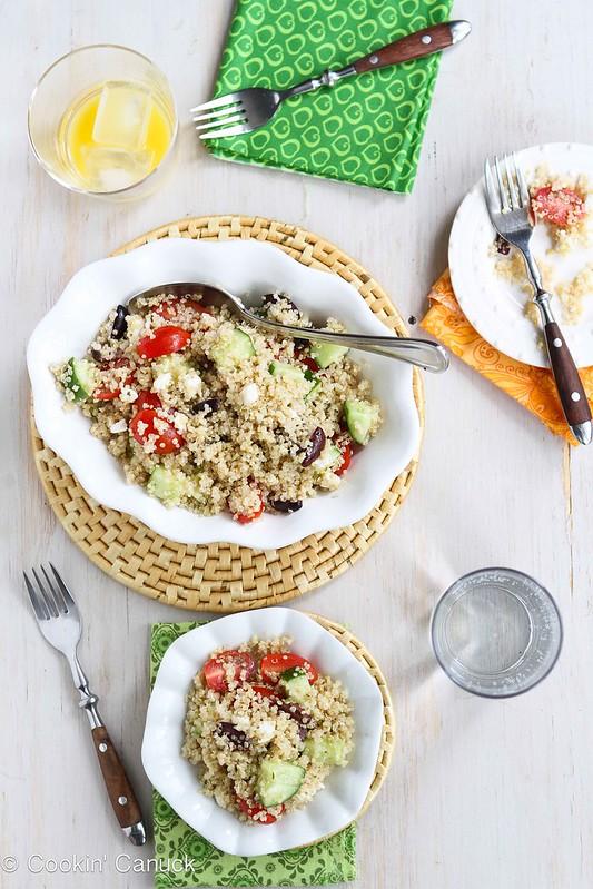 Quinoa Greek Salad Recipe with Tomatoes, Cucumber & Feta   cookincanuck.com #recipe #quinoa