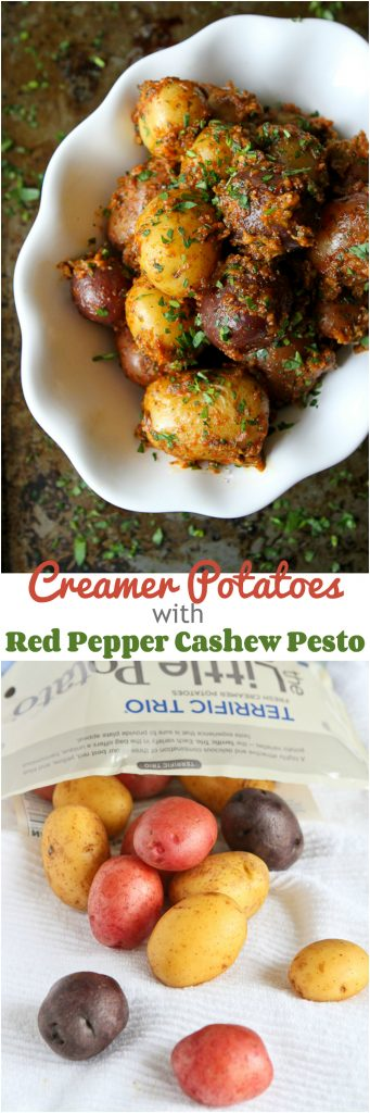 Creamer Potatoes with Red Pepper Cashew Pesto...A side dish that will knock your socks off! 188 calories and 5 Weight Watchers PP | cookincanuck.com #recipe #CreamerPotatoes