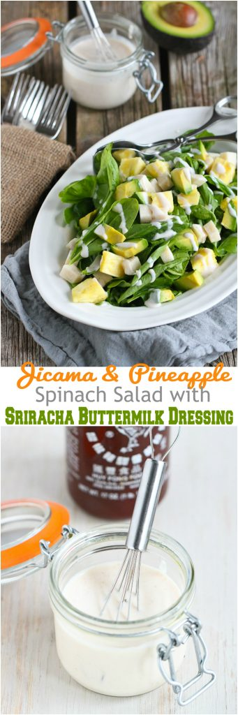 Jicama and Pineapple Spinach Salad with Sriracha Buttermilk Dressing...94 calories and 2 Weight Watchers PP for a great side salad! | cookincanuck.com #healthy #vegetarian #recipe